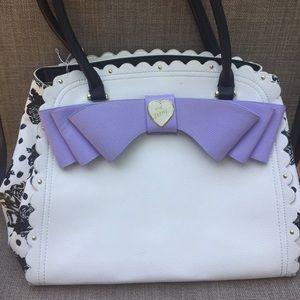 Betsey Johnson White Floral Polka Dot Tote Handbag